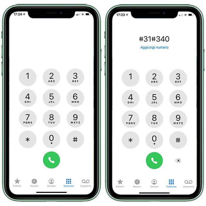 Come chiamare con l'anonimo aggiungendo il codice #31#